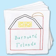 "Stamped Cloth Nursery Books, 8"" x 8"", 12 Pages, Barnyard Friends"