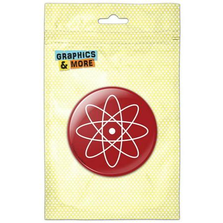 Atomic Symbol White on Red Pinback Button Pin Badge