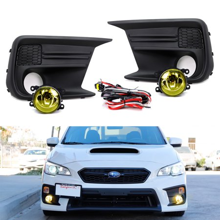 iJDMTOY Complete Set Yellow Lens Fog Light Kit with Foglamp Bezel Covers, Wiring Harness On-Off Switch For 2018-up Subaru WRX or STI