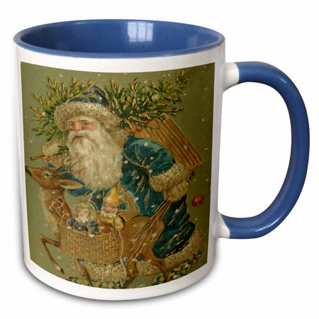 3dRose Vintage Old Fashioned Santa Claus Chrismas Tree Reindeer Toys - Two Tone Blue Mug, 11-ounce - Blue Santa Claus