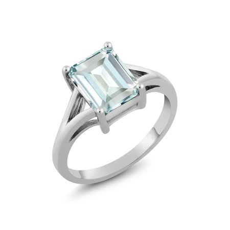 925 Sterling Silver Sky Blue Simulated Aquamarine Women Engagement Ring (2.30 Ct, Emerald Cut 9X7MM)