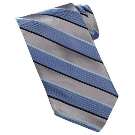 White Black Stripe Silk Necktie (Men's Wide Stripe Silk Tie)