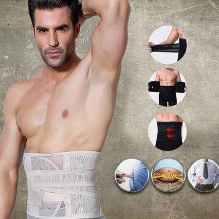 b7ab88f6e7 Men Body Shaper Corset Abdomen Tummy Control Waist Trainer Cincher Fat  Burning Girdle Slimming Belly Belt ...