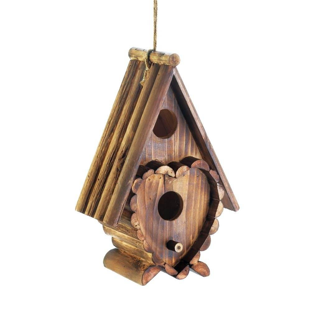 Wooden Bird House, Heart Shape Hanging Outdoor Rustic Decorative Bird House