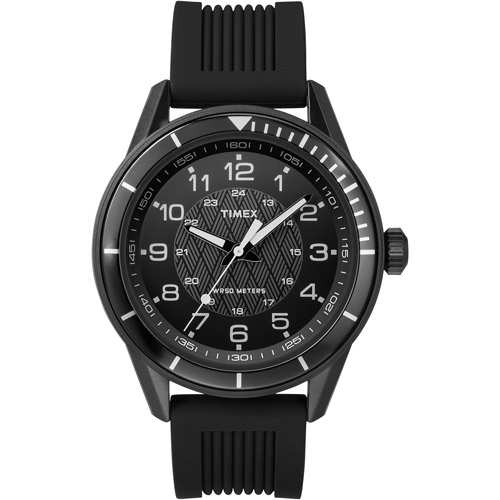 Timex Men's Dress All-Black Watch with Silicone Strap by Timex