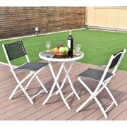 3pcs Folding Bistro Table Chairs Set Garden Backyard Patio Furniture Black