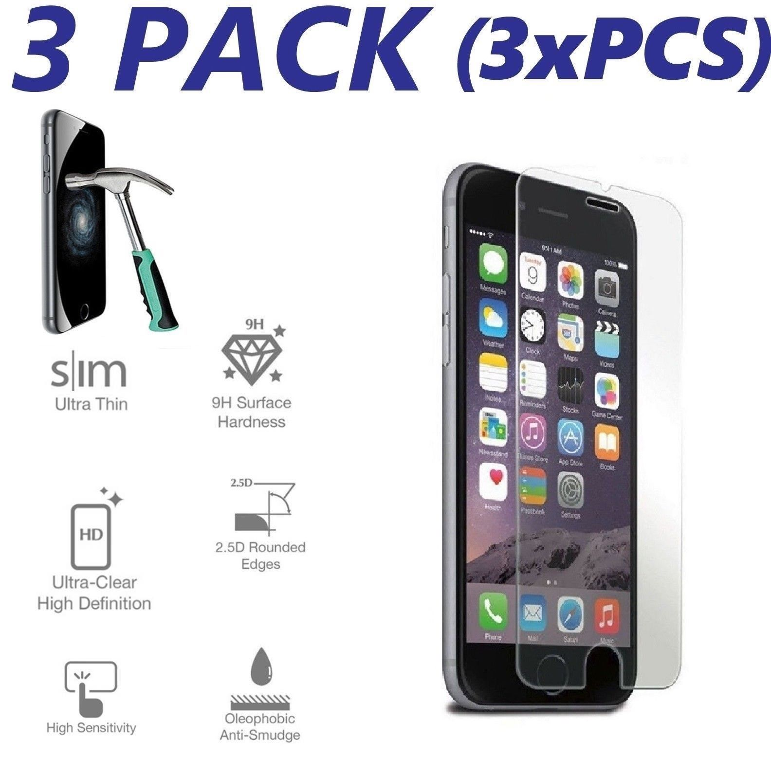 3 Pack - AmazingForLess iPhone 7 PLUS Premium Tempered Glass Shatter-Proof Protective Cover