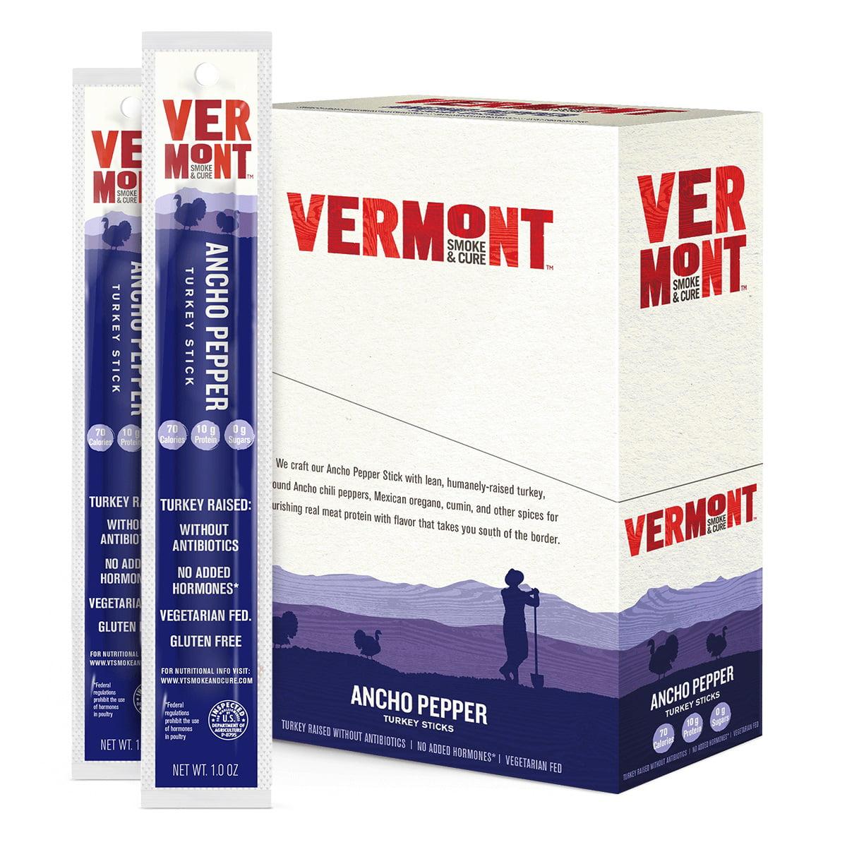 Vermont Smoke & Cure Meat Sticks, Turkey, Antibiotic Free, Gluten Free, Ancho Pepper, 1oz Stick, 24 Count
