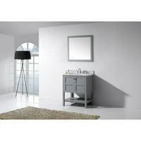 Virtu Winterfell 30'' Single Bathroom Vanity Set with White Marble Top and Mirror