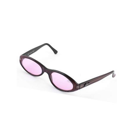 Dark Red Full Rim Frame Pink Colored Lens Leisure Glasses Sunglasses for (Coloured Lens Glasses)