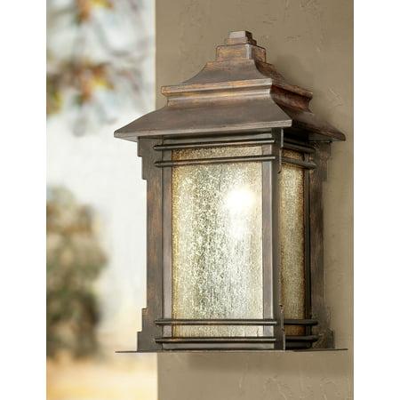 Franklin Iron Works Rustic Farmhouse Outdoor Wall Light Fixture Walnut Bronze 16 1/2