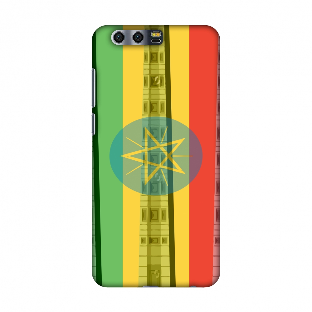Huawei Honor 9 Case, Premium Handcrafted Printed Designer Hard Snap on Shell Case Back Cover with Screen Cleaning Kit for Huawei Honor 9 - Obelix of Axum- Ethiopia flag