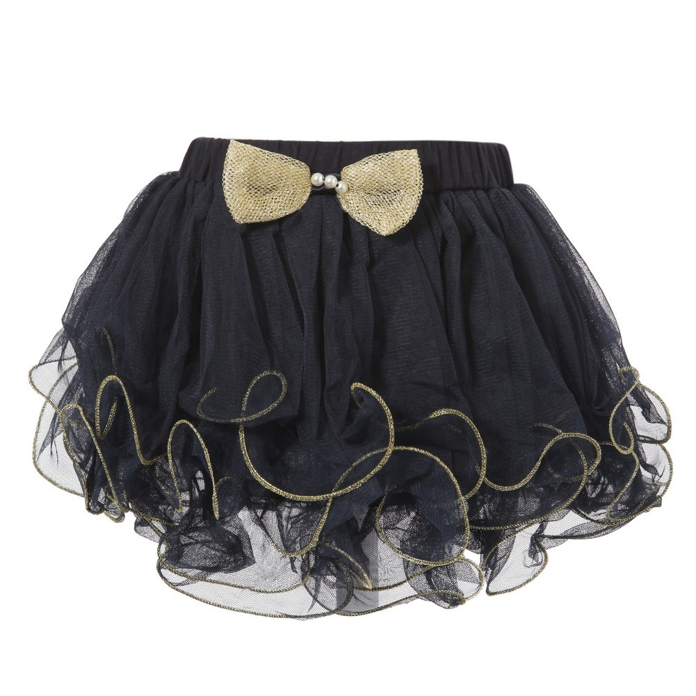 Richie House Little Girls Navy Gold Trim Bow Accent Tutu Skirt 1/2