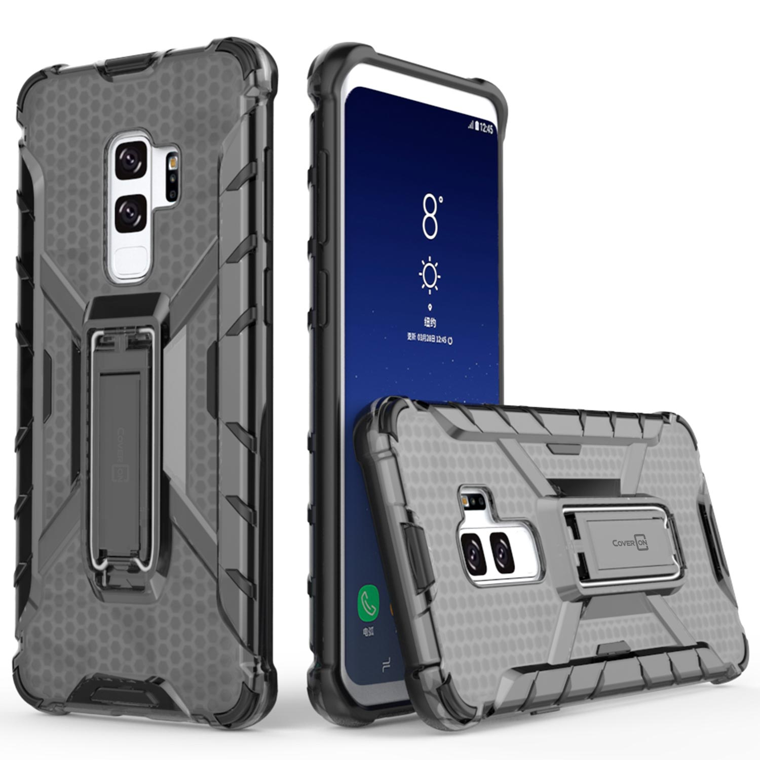 CoverON Samsung Galaxy S9 Plus Case, Hive Series Hard Hybrid Phone Cover with Kickstand
