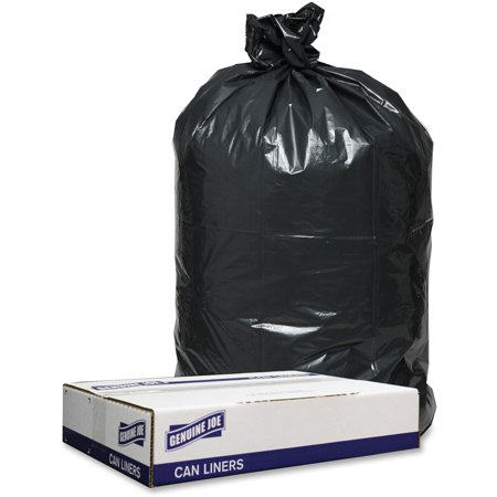 Genuine Joe, 1.2mil Black Trash Can Liners, 100 / Carton, Black ()