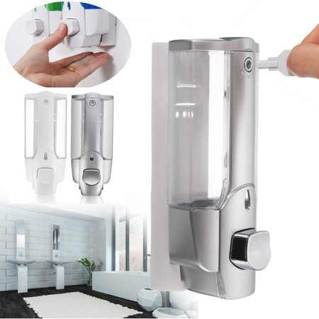 350ml 12oz Liquid/Lotion Soap Hand Sterilizer Dispenser Wall Mount, Single Manual Hand Pump Liquid Shower Shampoo Lotion Gel Container for Bathroom Hospital Kitchen Chrome Plastic