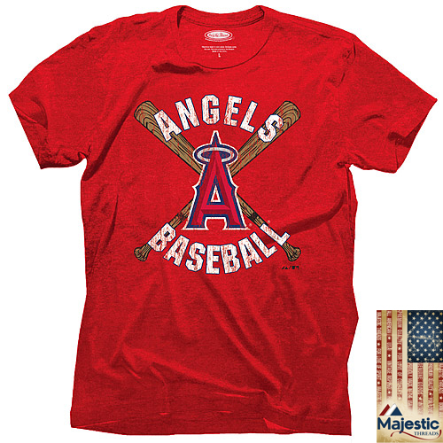 Majestic Threads Los Angeles Angels Cross Bat T-Shirt - Red