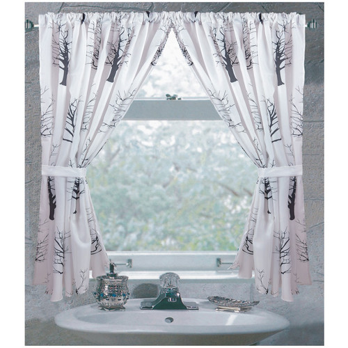 """Faith"" 100% polyester fabric window curtain with two tie backs, size 54""x34"""
