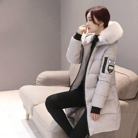 Fashion Women Long Down Cotton Parka Fur Collar Hooded Coat Winter Warm Jacket