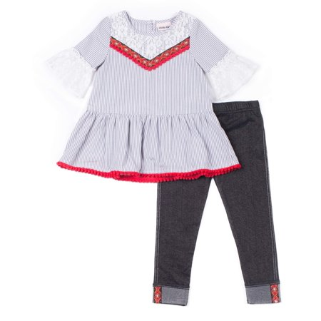 Woven Stripe Lace Sleeve Top & Knit Denim Legging, 2-Piece Outfit Set (Little Girls)
