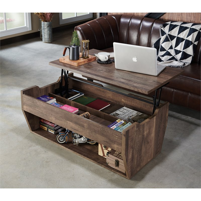 Furniture Of America Edwards Rustic Wood Storage Coffee Table In Reclaimed  Oak - Walmart.com - Walmart.com