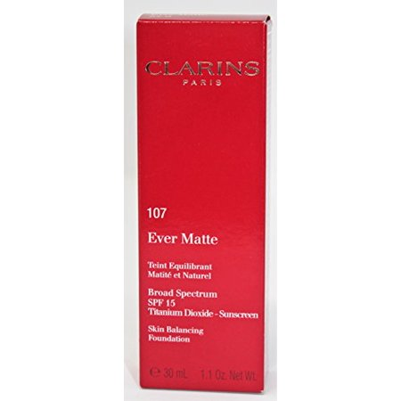 Clarins Ever Matte Skin Balancing Oil Free Foundation SPF 15, No. 107 Beige, 1.1 Ounce - image 1 de 1