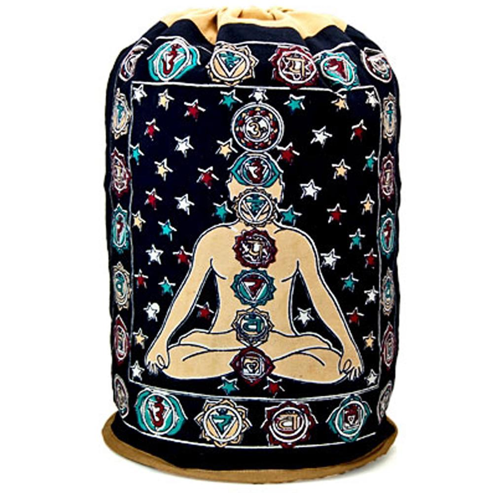 Bohemian Seven Chakra Hindu Block Print Sling Bag Backpack Rugged Cinch