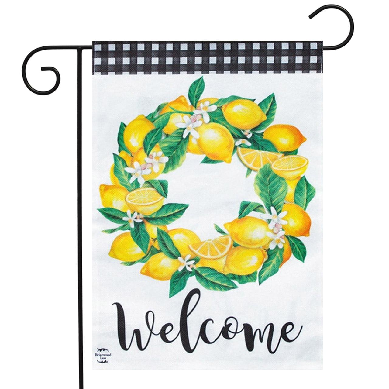 "Lemon Wreath Summer Burlap Garden Flag Welcome Flowers 12.5/"" x 18/"" Briarwood"