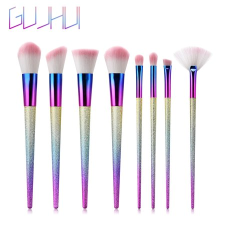 BEAD BEE 8 Pcs Tapered High-end Plastic Handle Scrub Makeup Brushes