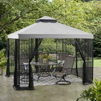Deals on Mainstays 10-ft x 10-ft Grey Easy Assembly Steel Garden Gazebo