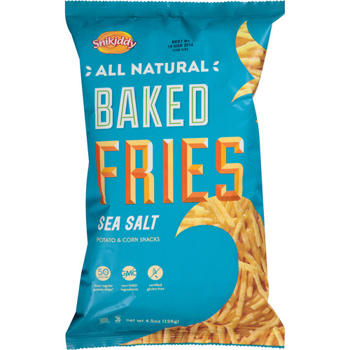 Snikiddy Snacks Snikiddy All Natural Sea Salt Baked Fries Potato & Corn Snacks, 4.5 oz, (Pack of 12)