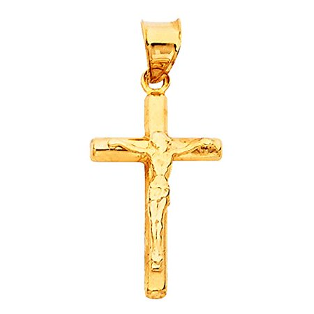 14K Yellow Gold Jesus Engraved Cross Pendant - Crucifix Charm Polish Finish - Handmade Spiritual Symbol - Gold Stamped Fine Jewelry - Great Gift for Men & Women for Occasions
