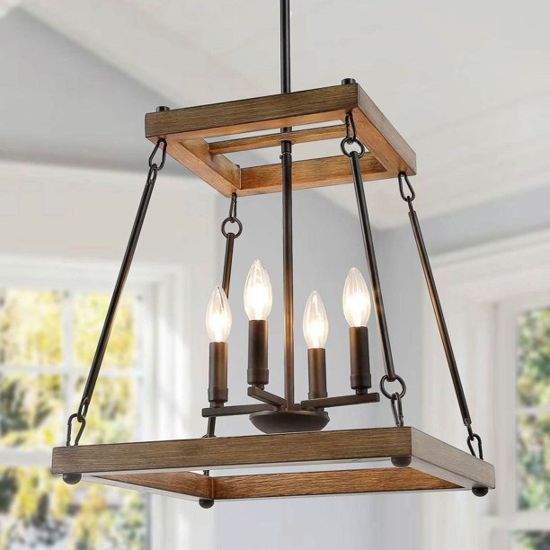Lnc Farmhouse Kitchen Lighting Wood, Square Metal And Wood Chandelier
