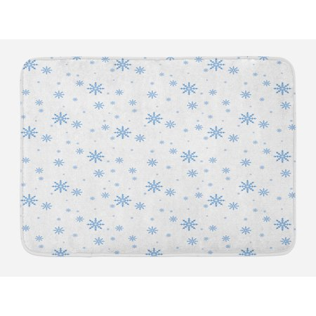 - Winter Bath Mat, Cold December Design Simple Seasonal Snowy Weather Ice Frost Gentle Winter Icons, Non-Slip Plush Mat Bathroom Kitchen Laundry Room Decor, 29.5 X 17.5 Inches, Blue White, Ambesonne
