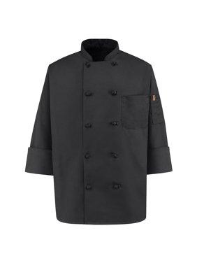 Men's Ten Knot Spun Poly Black Chef Coat