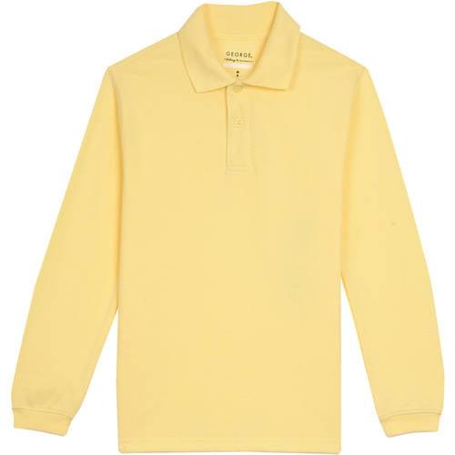 George Boys School Uniforms Long Sleeve Pique Polo Shirt
