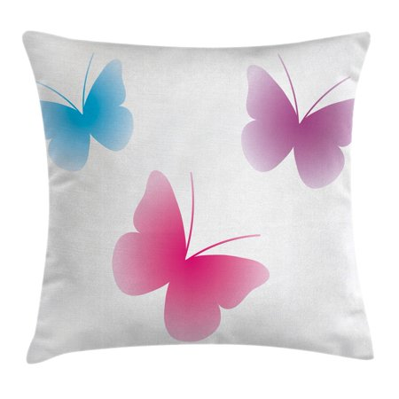 Animal Throw Pillow Cushion Cover  Butterfly Silhouettes Different Colors Spiritual Wings Life Themed Image  Decorative Square Accent Pillow Case  20 X 20 Inches  Pink Dried Rose Blue  By Ambesonne