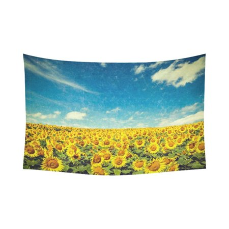 PHFZK Beautiful Sky Cloud Wall Art Home Decor, Nature Art Sunflower Field Landscape Tapestry Wall Hanging 90 X 60 Inches