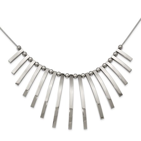 Stainless Steel Polished Bars and Beads with 2in Extender Necklace 19in - image 1 de 3