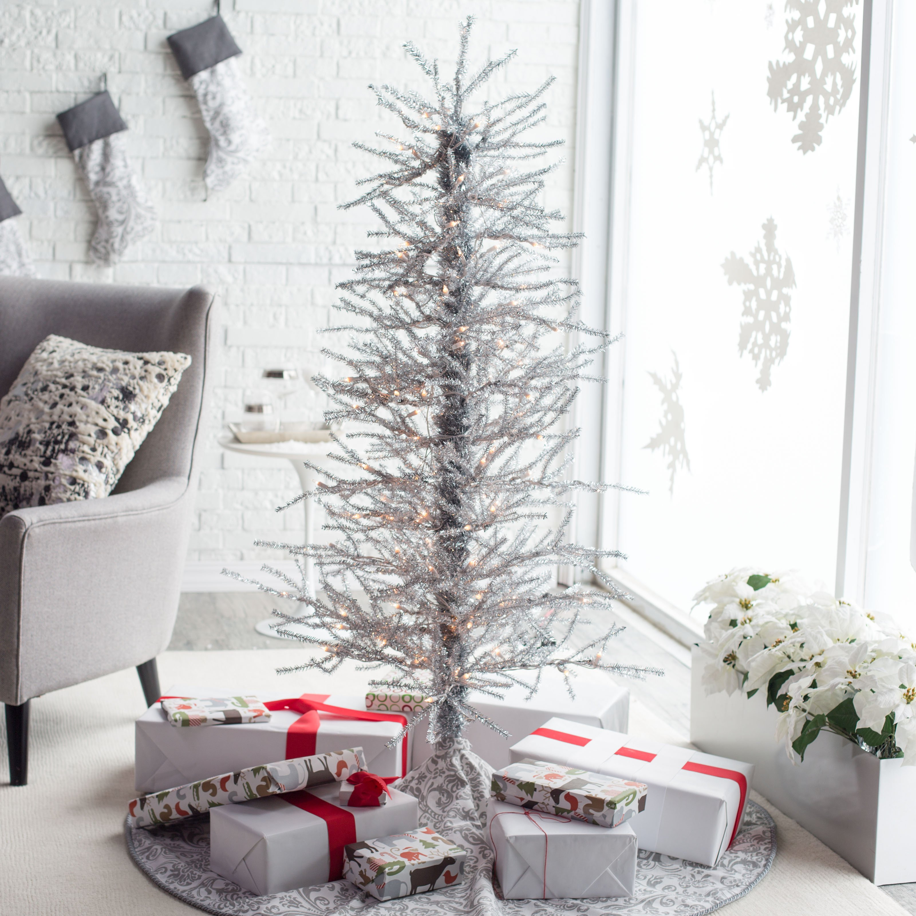 separation shoes 3f683 fb77f 5ft Silver Tinsel -Twig Christmas Tree by Sterling Tree Company