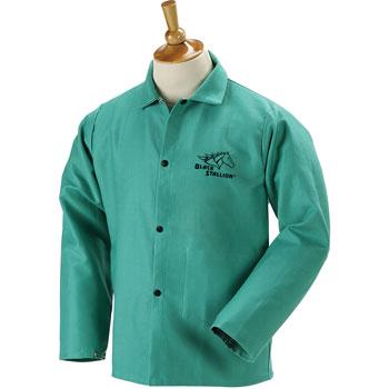 "Black Stallion F9-30C 30"" 9oz. Green FR Cotton Welding Jacket, Large"