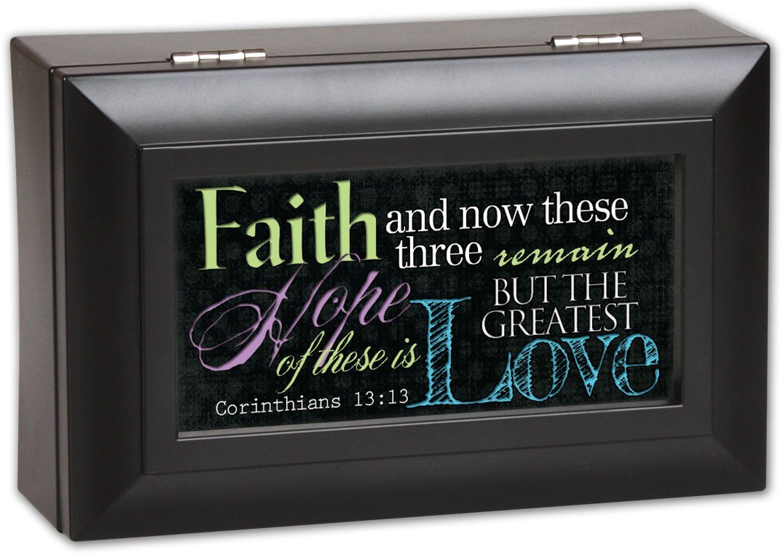 Cottage Garden Faith Hope Love Matte Black Petite Music Box   Jewelry Box Pla... by