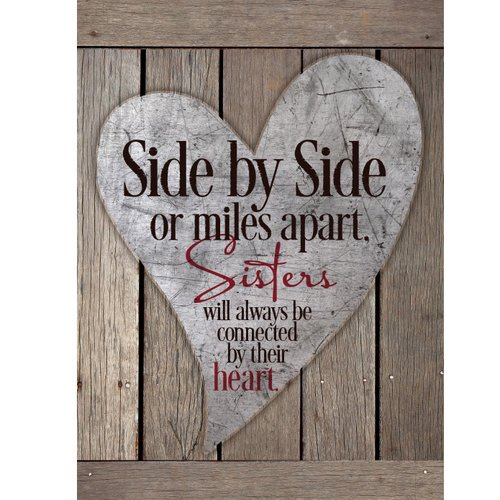 Dexsa Side By Side Or Miles Apart, Sisters New Horizons Textual Art Wood Plaque by DEXSA COMPANY