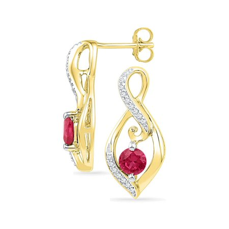(10K Yellow Gold Lab Created Ravishing Ruby Sparkling Solitaire Oval Diamond Earrings 1.00 Ctw.)
