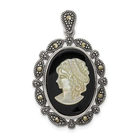 925 Sterling Silver Marcasite Black Agate Mop White Cameo Pendant Charm Necklace Slide Omega Fine Jewelry Gifts For Women For Her - image 5 de 5