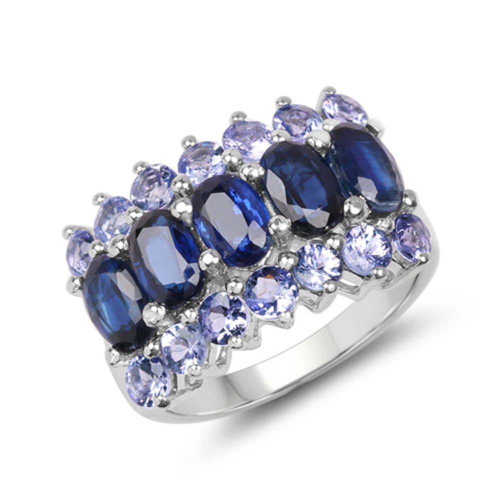 Genuine Oval Kyanite and Tanzanite Ring in Sterling Silver Size 6.00 by Bonyak Jewelry