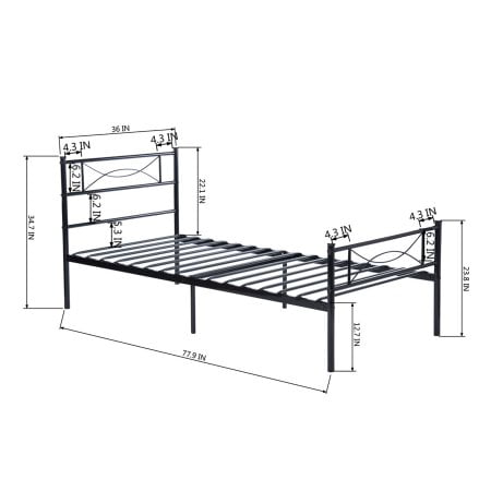 Elephance Twin Size Metal Platform Bed with Bowknot Headboards Easy Assembly