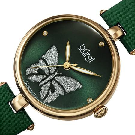 Burgi  Women's Diamond Glitter Butterfly Leather Strap Bracelet Watch - - Butterfly Bracelet Watch