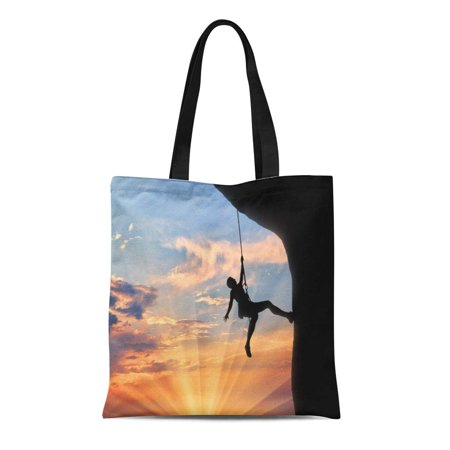 LADDKE Canvas Bag Resuable Tote Grocery Shopping Bags Rock Climber Rope Climbs Cliff Sunset of Mountaineering Silhouette Equipment Tote Bag (Rock Climbing Rope Bags)