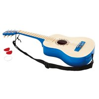 Hape 6 String Wooden Guitar Toy Children Kids Tuneable Musical Instrument, Blue